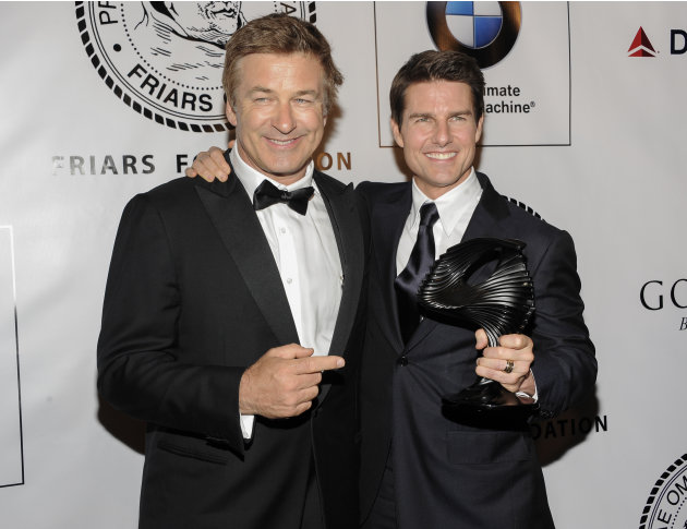 Actor Alec Baldwin and honoree Tom Cruise pose together at The Friars Club and Friars Foundation Honor of Tom Cruise at The Waldorf-Astoria on Tuesday, June 12, 2012, in New York. (Photo by Evan Agost
