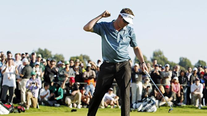 Charlie Beljan celebrates the birdie on the first playoff hole in the final round of the Northern Trust Open golf tournament at Riviera Country Club in the Pacific Palisades area of Los Angeles, Sunday, Feb. 17, 2013. (AP Photo/Reed Saxon)