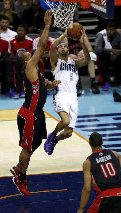 Charlotte Bobcats guard Jannero Pargo (5) drives to the basket against Toronto Raptors forward Chuck Hayes in the second half of an NBA basketball game, Monday, Jan. 20, 2014, in Charlotte, N.C. Charl