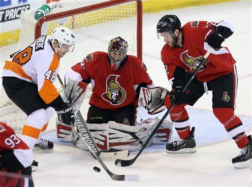 Voracek, Mason lead Flyers past Senators, 2-1