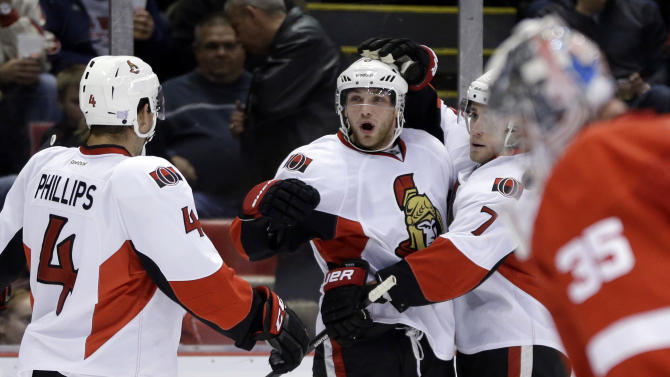 Senators rout Alfredsson, Red Wings 6-1