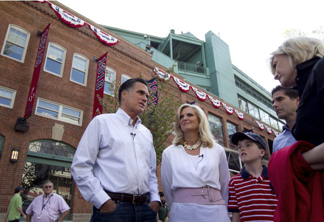Republican presidential candidate, former Massachusetts Gov. Mitt Romney and his wife Ann, center, speak with ABC newswoman Diane Sawyer, right, at Fenway Park baseball stadium in Boston, Monday, Apri