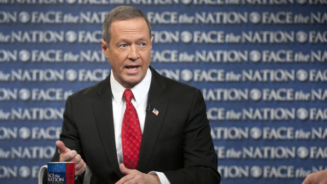 """In this Sunday, Feb. 24, 2013, photo, provided by CBS News, Democratic Gov. Martin O'Malley of Maryland speaks on CBS's """"Face the Nation"""" in Washington. O'Malley joined with with Republican Gov. Bob McDonnell of Virginia to call for Congress to prevent impending defense cuts that would hit their states hard. (AP Photo/CBS News, Chris Usher)"""