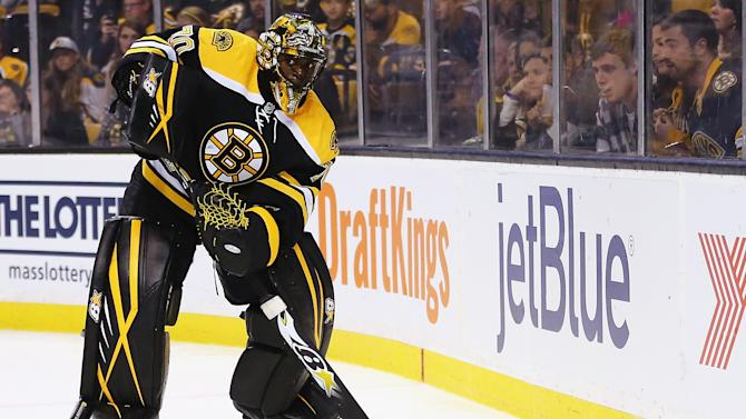 Malcolm Subban of the Boston Bruins, pictured on September 22, 2015, was injured before a game in Portland, Maine, involving the Bruins top developmental team, the Providence Bruins