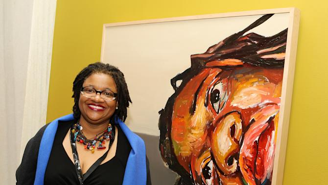 IMAGE DISTRIBUTED FOR NATIONAL PORTRAIT GALLERY - Prize-winning artist Beverly McIver of Durham N.C. at the National Portrait Gallery's Outwin Boochever Portrait Competition reception at National Portrait Gallery on Friday, March 22, 2013 in Washington, DC. (Paul Morigi / AP Images for National Portrait Gallery)