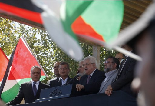 Palestinian President Abbas addresses newly released Palestinian prisoners during a welcoming ceremony in Ramallah