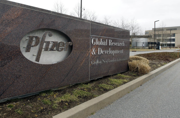 A Friday, March 2, 2012 photo shows the exterior of Pfizer in Groton, Conn. Pfizer Inc. Shares of Pfizer Inc. and Bristol-Myers Squibb Co. fell Monday, June 25, 2012, after federal regulators unexpectedly delayed for a second time a decision on whether to approve the companies' highly touted experimental anticlotting drug Eliquis. (AP Photo/Elise Amendola)