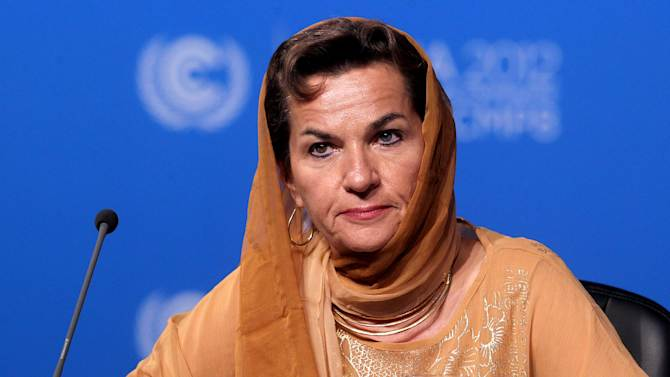 Christiana Figueres, Executive Secretary of the United Nations Framework Convention on Climate Change (UNFCCC)  attends the opening session of the United Nations Climate Change conference in Doha, Qatar, Monday, Nov. 26, 2012. U.N. talks on a new climate pact resumed Monday in oil and gas-rich Qatar, where negotiators from nearly 200 countries will discuss fighting global warming and helping poor nations adapt to it. The two-decade-old talks have not fulfilled their main purpose: reducing the greenhouse gas emissions that scientists say are warming the planet. (AP Photo/Osama Faisal)