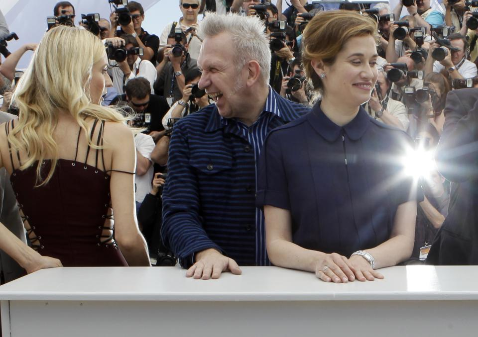 From left members of the jury Diane Kruger, Jean-Paul Gaultier and Emmanuelle Devos pose during a photo call for the members of the jury at the 65th international film festival, in Cannes, southern France, Wednesday, May 16, 2012. (AP Photo/Lionel Cironneau)