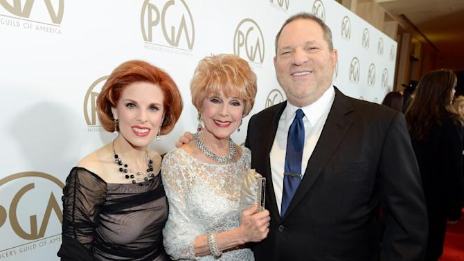 Kat Kramer, Karen Sharpe, and Harvey Weinstein arrive at the 24th Annual Producers Guild (PGA) Awards at the Beverly Hilton Hotel on Saturday Jan. 26, 2013, in Beverly Hills, Calif. (Photo by Jordan Strauss/Invision for The Producers Guild/AP Images)