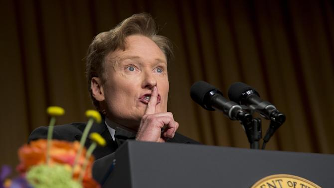 Late-night television host and comedian Conan O'Brien speaks during the White House Correspondents' Association Dinner at the Washington Hilton Hotel, Saturday, April 27, 2013, in Washington.  (AP Photo/Carolyn Kaster)