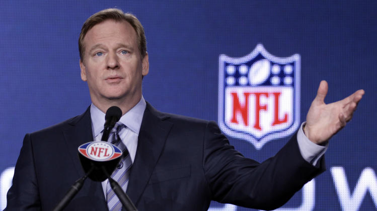 FILE - This Feb. 3, 2012 file photo shows NFL Commissioner Roger Goodell gesturing during a news conference in Indianapolis. The NFL has pledged $30 million for medical research to the Foundation for the National Institutes of Health. Commissioner Goodell announced Wednesday, Sept. 5, 2012, the funding to the NIH, which is part of the U.S. Department of Health and Human Services. (AP Photo/David J. Phillip, File)