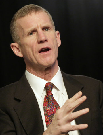 "Retired Gen. Stanley McChrystal talks during an interview with The Associated Press, Monday, Jan. 7, 2013 in New York. McChrystal says he was ""completely surprised"" by the uproar that followed publication of a Rolling Stone article featuring derogatory comments attributed to his staff about the Obama administration. (AP Photo/Mark Lennihan)"