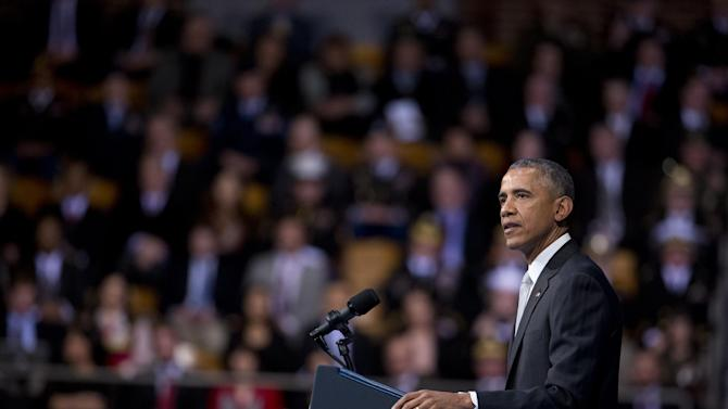 President Barack Obama, speaks during the farewell tribute in honor of outgoing Defense Secretary Chuck Hagel, at Fort Myer-Henderson Hall in Fort Myer, Va., Wednesday, Jan. 28, 2015.   (AP Photo/Manuel Balce Ceneta)