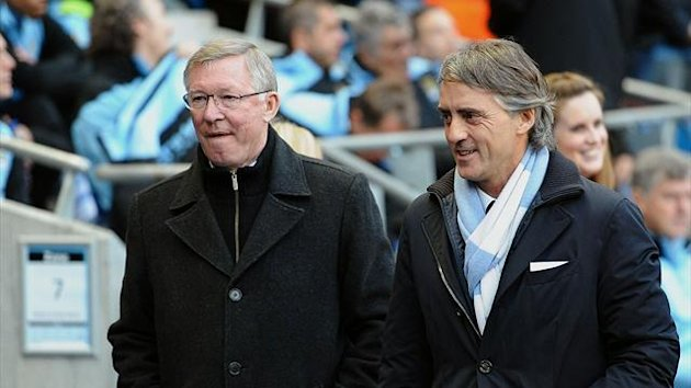 Alex Ferguson and Roberto Mancini (AFP)