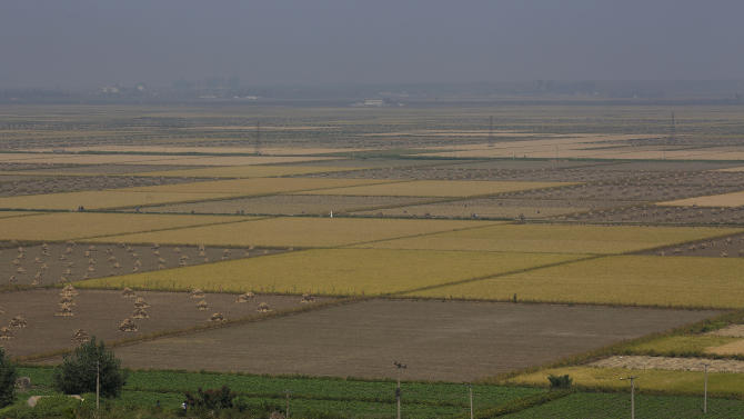This Sunday, Sept. 23, 2012 photo shows a general view of Migok Cooperative Farm in Sariwon, North Hwanghae Province, North Korea. Farmers would be able to keep a bigger share of their crops under proposed changes aiming to boost production by North Korea's collective farms, which have chronically struggled to provide enough food for the country's 24 million people. (AP Photo/Vincent Yu)