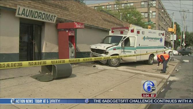 Ambulance carrying patient crashes in East Mt. Airy; 6 injured