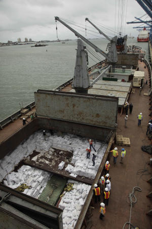 Panamanian workers stand atop sacks of sugar inside a container aboard a North Korean-flagged ship at the Manzanillo International container terminal on the coast of Colon City, Panama, Tuesday, July 16, 2013. The North Korean ship carrying weapons system parts buried under sacks of sugar was seized as it tried to cross the Panama Canal on its way from Cuba to its home country, which is under a United Nations arms embargo, Panamanian officials said Tuesday. (AP Photo/Arnulfo Franco)