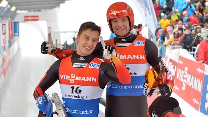 Germans win doubles luge, team relay