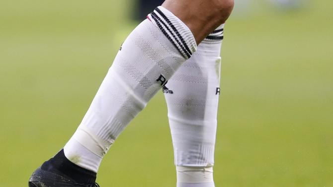 "Real Madrid's Ronaldo new signature boots, the Mercury Superfly, are pictured during theSpanish first division ""Clasico"" soccer match against Barcelona at the Santiago Bernabeu stadium in Madrid"