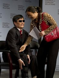 Chinese dissident Chen Guangcheng arrives at the Council on Foreign Relations in New York