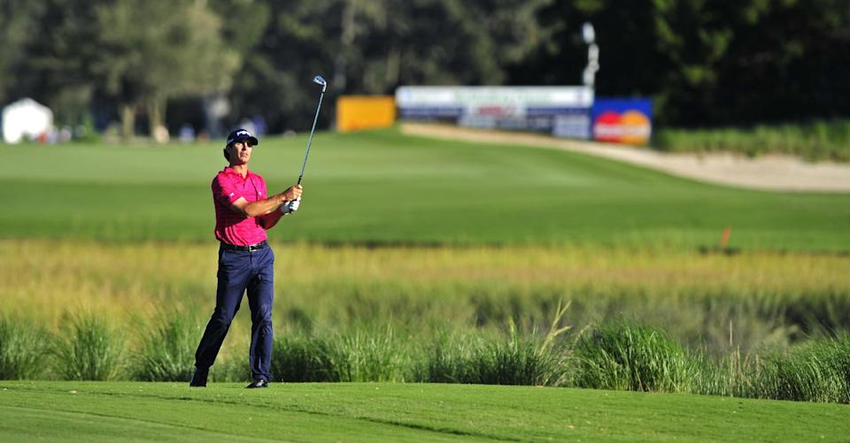 Billy Horschel watches shot down the 13th fairway during the second round of the McGladrey Classic golf tournament at the Sea Island Golf Club on St. Simons Island, Ga., Friday, Oct. 14, 2011. (AP Photo/Stephen Morton)