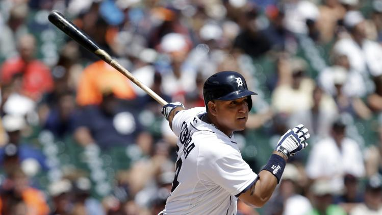 Detroit Tigers' Migual Cabrera hits a double in the third inning of a baseball game against the Los Angeles Angels in Detroit, Thursday, June 27, 2013. The (AP Photo/Paul Sancya)