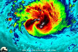 Cyclone's 'Overshooting Cloud Tops' Seen from Above