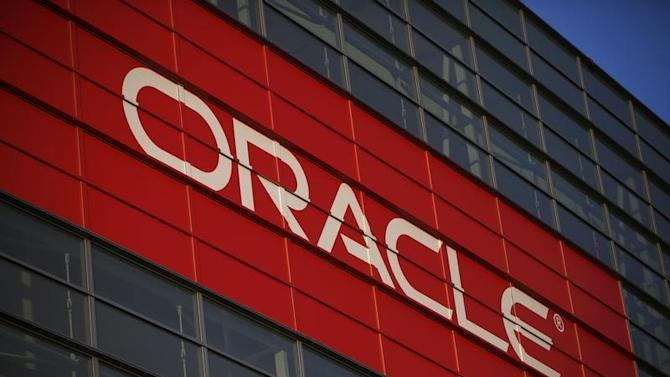 File photograph of an Oracle signage at Oracle OpenWorld 2012 event in San Francisco
