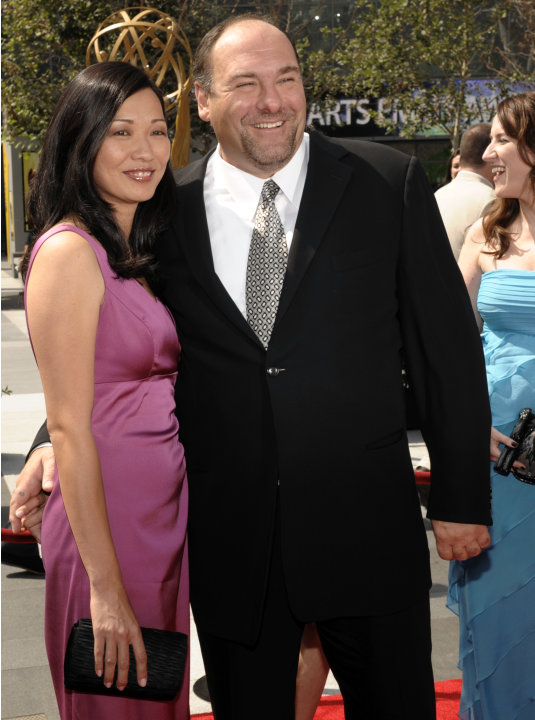 FILE - This Sept. 13, 2008 file photo shows actor James Gandolfini and his wife Deborah Lin at the 2008 Primetime Creative Arts Emmy Awards in Los Angeles.  HBO and the managers for Gandolfini say the