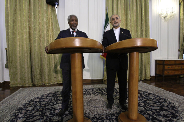 "International envoy Kofi Annan, left, speaks during a joint press conference with Iranian Foreign Minister Ali Akbar Salehi in Tehran, Iran, Wednesday, April 11, 2012. Annan, the U.N.-Arab League envoy, has appealed to Syria's key ally Iran to support his plan to end the violence wracking the Arab country, saying that ""any further militarization of the conflict would be disastrous."" (AP Photo/Vahid Salemi)"