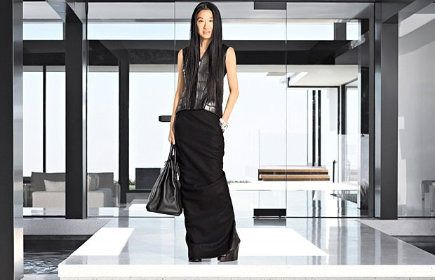 Wang poses in front of her sleek new L.A. home. Douglas Freidman/Harper&#x002019;s Bazaar