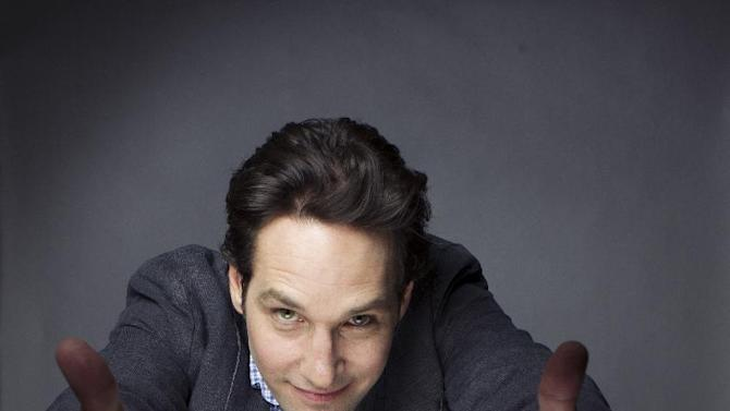 "This Aug. 21, 2012 photo shows Paul Rudd posing for a portrait at the Grace Hotel in New York. The 43-year-old star who has been on a goofy comedic tear lately with ""Our Idiot Brother,"" ""Dinner for Schmucks,"" ""Wanderlust"" and TV's ""Parks and Recreation.""  Now he is playing an evangelical Christian who basically unravels onstage in the play ""Grace,"" which opens on Broadway on Oct. 4. (Photo by Victoria Will/Invision/AP)"