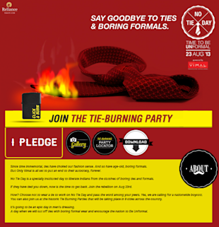 Only Vimal Creates 'No Tie Day', Calls For Boycotting Ties, Invites For Tie Burning Parties In Your City image Vimal Unformal website