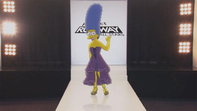 Marge Simpson Models 'Project Runway' Frocks