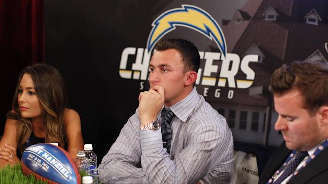 Johnny Manziel, from Texas A&M, waits backstage during the first round of the NFL football draft, Thursday, May 8, 2014, at Radio City Music Hall in New York