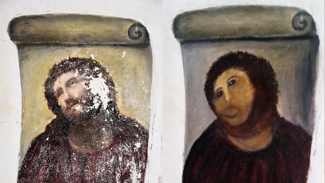 "File - In this combination of two undated handout photos made available by the Centro de Estudios Borjanos,  the 20th century Ecce Homo-style fresco of Christ , left and the 'restored' version, at right. Only a month has gone by since an 80-year-old artist won global infamy for botching a restoration of a fresco of Christ in a little-known Spanish town, but it took even less time for Internet entrepreneurs to start copying her image compared to a monkey's head to sell everything from T-shirts to cellphone covers and wine. Now a mortified Cecilia Gimenez has lawyers researching her intellectual property rights, and could demand a cut of profits to benefit charity for her amazingly popular disfiguration of the fresco from the genre known as ""Ecce Homo"" (""Behold the Man) style. On Twitter, where the story and image went viral, her version is known as ""Ecce Mono"" (""Behold the Monkey.)""  (AP Photo/Centro de Estudios Borjanos, File)"