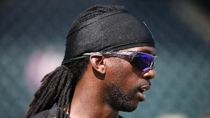 Pittsburgh Pirates' Andrew McCutchen waits his turn in the batting cage at McKechnie Field before an intrasquad spring training baseball game in Bradenton, Fla., Monday, March 2, 2015. McCutchen did not play in the game. (AP Photo/Gene J. Puskar)