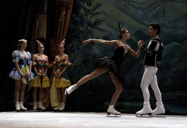Dancers from the St. Petersburg State Ice Ballet perform on ice during a rehearsal prior to the show in Lima