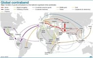 Graphic showing major flows of goods and people in the $870 billion global organised crime market, according to a new UNODC campaign launched Monday. Text slug: UN-crime-drugs-economy 175 x 145 mm