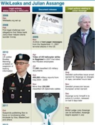 <p>Graphic showing a chronology of the Wikileaks organisation and its founder Julian Assange, who has applied for political asylum at the Ecuadorian embassy in London on Tuesday. Text slug: Britain-Sweden-Internet-Wikileaks 130 x 206 mm</p>