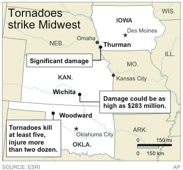 Map locates places heaviest hit by tornadoes