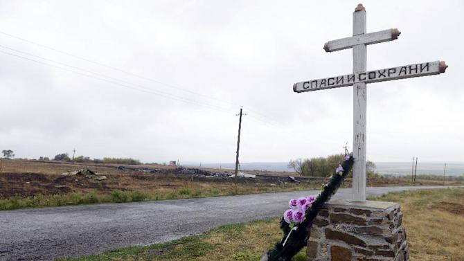 A monument for Malaysia Airlines Flight MH17 at the crash site in the village of Hrabove on September 9, 2014