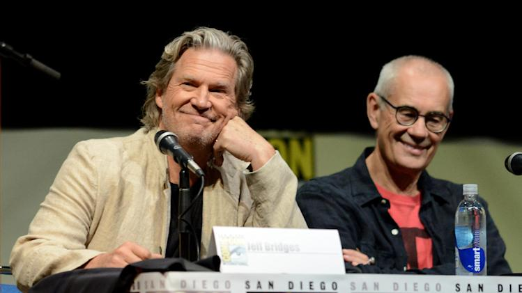 "Jeff Bridges, left, and Sergey Bodrov attend the ""Seventh Son"" panel on Day 4 of Comic-Con International on Saturday, July 20, 2013 in San Diego. (Photo by Jordan Strauss/Invision/AP)"