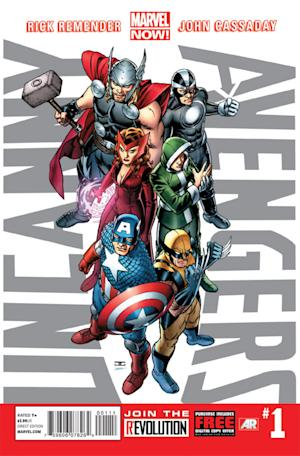 """This image provided by Marvel Entertainment shows the cover of the first issue of """"Uncanny Avengers."""" In comics, the first issue is where the story starts and the legend begins. Marvel Entertainment, home to the Fantastic Four, the X-Men and the Avengers, among others, is making more than 700 first issues available to digital readers starting Sunday, March 10, 2013, via its app and website. (AP Photo/Marvel Entertainment)"""