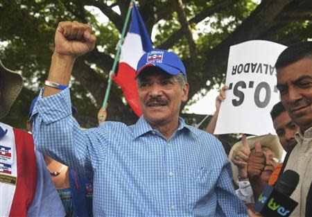 Norman Quijano of the right-wing Nationalist Republican Alliance (Arena) greets supporters in San Salvador