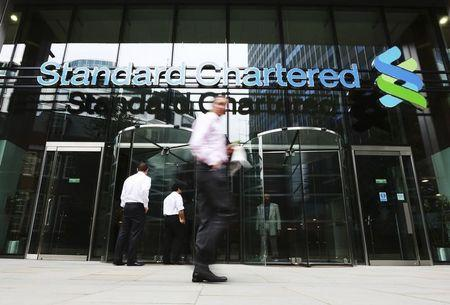 An exterior view of the Standard Chartered headquarters is seen in London