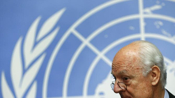 UN Special Envoy for Syria de Mistura addresses a news conference in Geneva