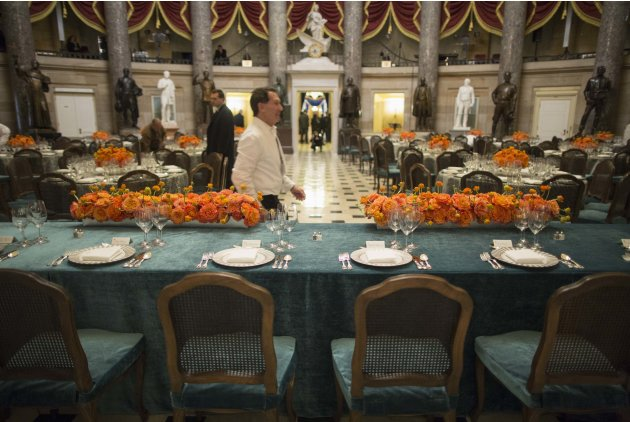 The head table for the Inaugural luncheon is photographed at Statuary Hall in Washington