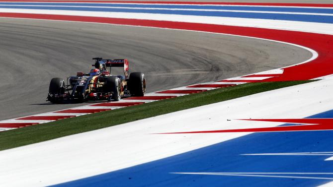 Lotus Formula One driver Romain Grosjean of France drives during a free practice session of the United States F1 Grand Prix at the Circuit of The Americas in Austin, Texas